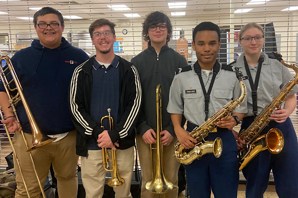 CENTRAL BAND STUDENTS PARTICIPATE IN EAST TENNESSEE STATE BAND AND ORCHESTRA ASSOCIATION SOLO AND ENSEMBLE CONCERT FESTIVAL -- From left to right: Triston Teague, Grant Scutt, Alex White, Erickson Frias-Cruz, and Sydney Stone were selected to represent Central East Tennessee State Band and Orchestra Association.