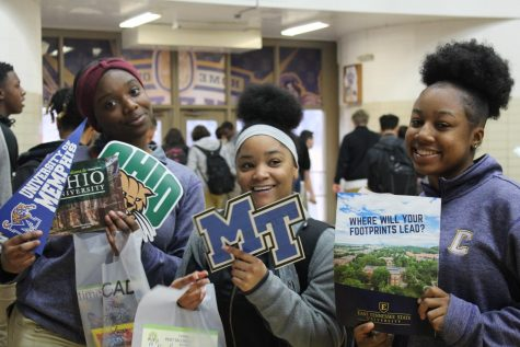 STUDENTS BUILD AWARENESS OF COLLEGE OPTIONS THROUGH 2020 COLLEGE FAIR -- Central students express interests in colleges at the college fair.