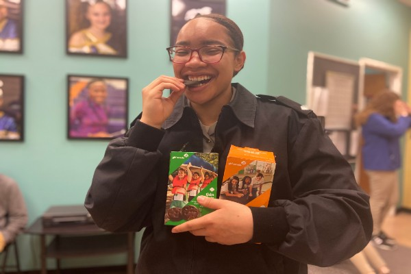 EDITORIAL: WHAT IS CENTRAL'S FAVORITE GIRL SCOUT COOKIE? -- Senior Jazmynn Ball enjoys a Thin Mint in between her classes.