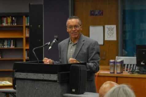 REUBEN JUSTICE, AMONG FIRST AFRICAN AMERICAN CENTRAL GRADUATES, SPEAKS TO CENTRAL HISTORY CLASSES -- Reuben Justice discusses his time at Central in the school library.