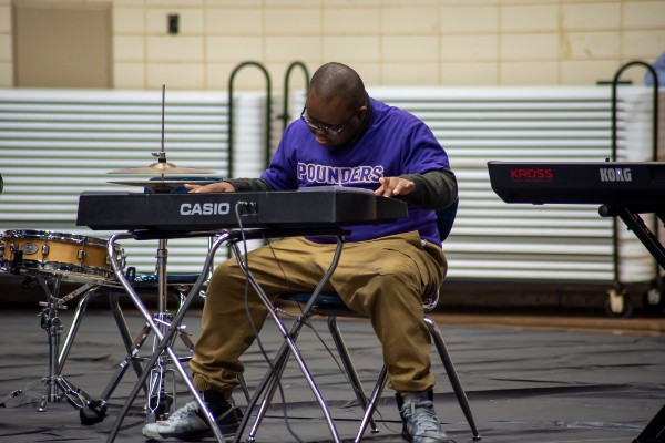 CENTRAL HIGH HOSTS STUDENT TALENT SHOW - Pierre Joseph plays his own piece on the Jazz band keyboard.