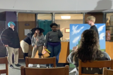 THEATER II AND ENGLISH TEACHER KELSAY CATE RECEIVES NEW TEACHER AND DONORSCHOOSE GRANTS -- Kelsay Cate's Theatre II students practice for their upcoming play,