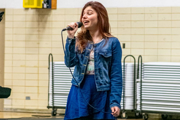 CENTRAL HIGH HOSTS TALENT SHOW -- May Soares sings in front of the student audience at the 2019-2020 talent show that was held on the last day students had in school before the COVID-19 closures.