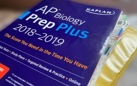 RESCHEDULED AP TESTS TO BE TAKEN ONLINE AND AT HOME -- Students continue to study through AP testing books and online courses.