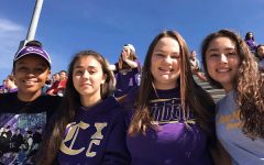 BITTERSWEET BEGINNINGS -- From left to right: DayOnna Carson, Danae Wnuk, Abby Young, and Cassandra Castillo enjoy a Powderpuff game as sophomores.