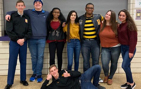 THE HIGH SCHOOL DREAM — (From left to right) Seniors Tyler Mullins, James Ortiz, DayOnna Carson, Danae Wnuk, Jaheim Williams, Abby Young, Cassandra Castillo, and Patrick Quinn, holding thumbs-up, pose for a picture after being named senior superlatives.
