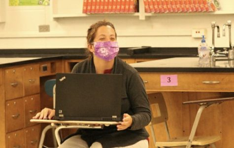 CENTRAL WELCOMES CHRISTINA MOLL TO SCIENCE SUPPORT -- Christina Moll observes her co-teacher, John Brittingham.
