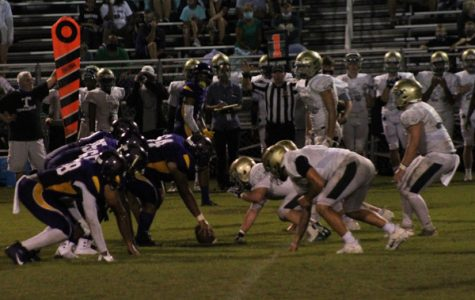 CENTRAL FOOTBALL FALLS TO NOTRE DAME IN THE FIRST GAME OF THE SEASON -- Both teams line up at the 48 yard line with Central in possession.