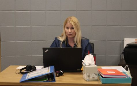 CENTRAL WELCOMES VICTORIA WILLIAMSON  AS AN EXCEPTIONAL EDUCATION TEACHER -- Mrs. Williamson working in her office in the center of E-Pod.