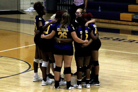 CENTRAL VOLLEYBALL RETURNS -- The volleyball  team huddles before their game against Bradley Central.