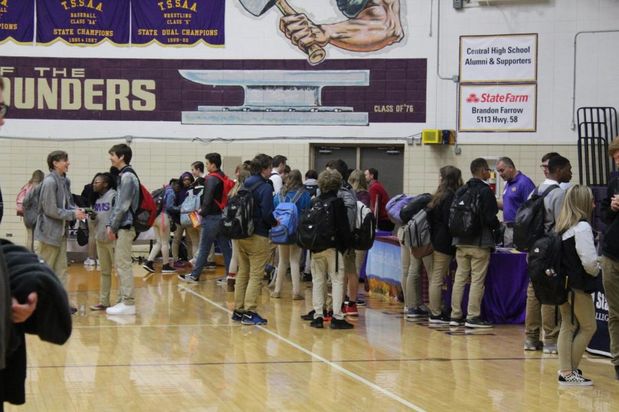 CENTRAL CONTINUES TO FACE DECREASES IN STUDENTS BODY -- Central students explore colleges and other post-high school opportunities at last year's college fair.