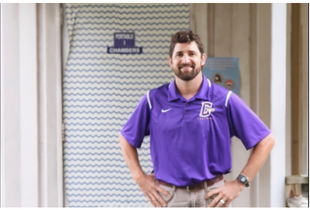 WELCOME TO CENTRAL, MR. CHAMBERS -- Korey Chambers seen standing outside his new area of work, Portable Three.