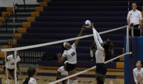 CENTRAL VOLLEYBALL IS TRIUMPHANT OVER EAST RIDGE -- Senior Addy Wellington at the net during the Lady Pounders
