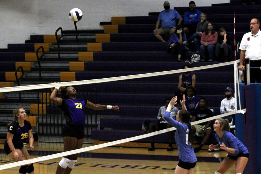 LADY POUNDERS SWEEP LOOKOUT VALLEY -- Junior Alona Allen punishes the Patriots' defense with a powerful spike.