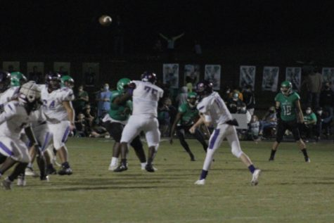 CENTRAL FOOTBALL LOSES TO EAST HAMILTON IN WEEK FIVE -- Freshman Evan Schwarzl throws up a pass to the receiver.