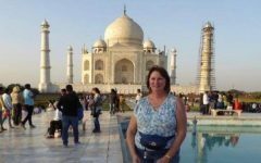 ALUMNI SPOTLIGHT: KATHY RATZ ('74) REFLECTS BACK ON HER EDUCATIONAL INSPIRATION FROM CENTRAL-- Kathy Ratz pictured posing in front of the Taj Mahal.