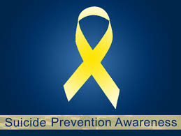 SEPTEMBER IS NATIONAL SUICIDE PREVENTION MONTH -- Suicide prevention is often represented by a yellow banner; it is also occasionally represented with a teal banner.