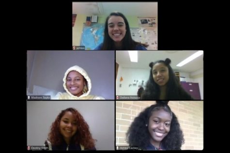 FIVE SENIORS NOMINATED TO GIRLS' HOMECOMING COURT OF 2020 -- (From top to bottom, left to right) Seniors Ashlee Smith, Madison Taylor, Dallana Nolazco, Destiny Smith, and Ashley Lackey pose on a Zoom call.