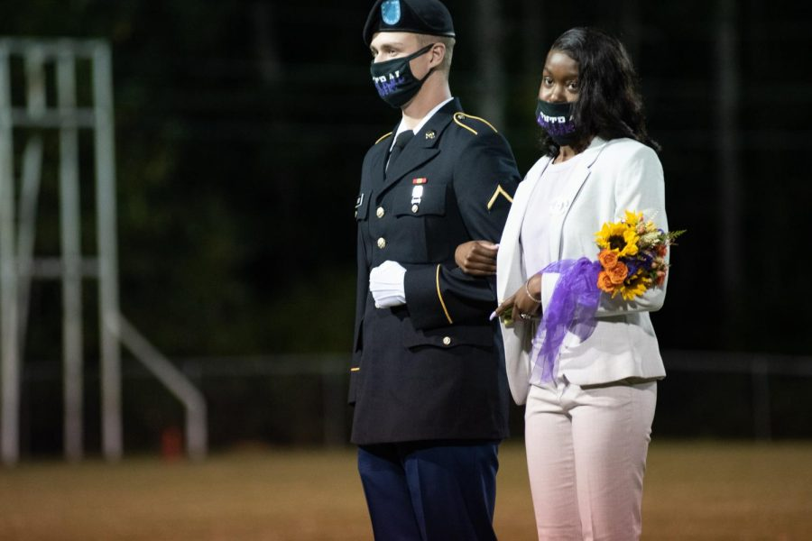 PHOTO GALLERY: HOMECOMING 2020 -- Ashley Lackey is presented as a member of the 2020 Homecoming Court, escorted by Logan Batey.