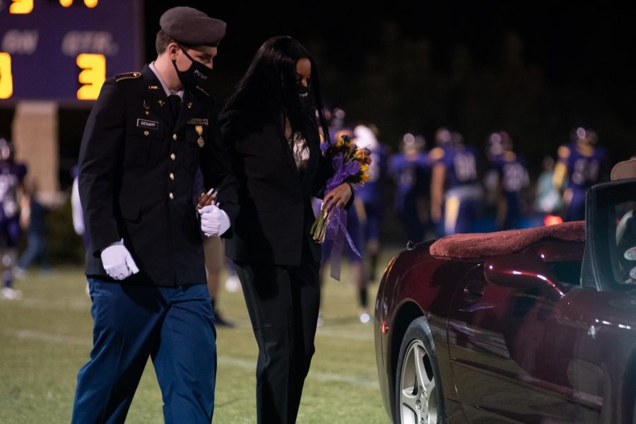 PHOTO GALLERY: HOMECOMING 2020 --Madison Taylor exits the football field after the Homecoming festivities.