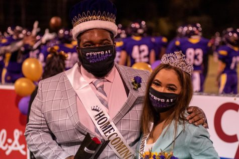 PHOTO GALLERY: HOMECOMING 2020 --Kenyon McCroby and Destiny Smith celebrate being named Homecoming King and Queen.