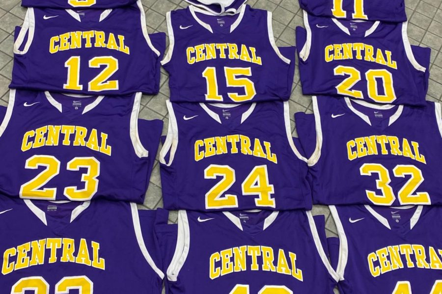 CENTRAL BASKETBALL FUNDRAISER -- Pictured are some of the basketball jerseys that are up for sale.