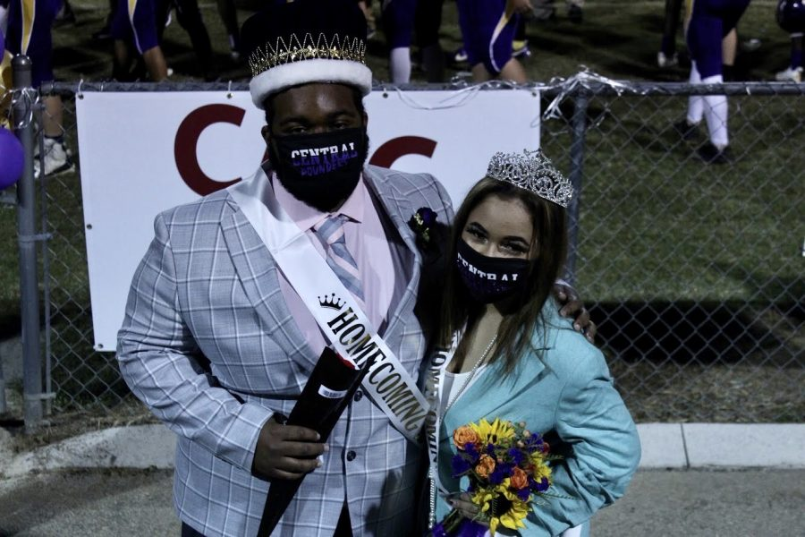 KENYON MCCROBEY AND DESTINY SMITH ANNOUNCED HOMECOMING KING AND QUEEN -- Seniors Kenyon McCrobey and Destiny Smith celebrating the honor of being named Homecoming King and Queen.