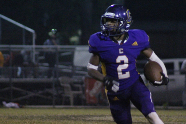 CENTRAL FOOTBALL LOSES TO EAST RIDGE -- Junior Noah Collins runs down the field, gaining significant yardage.