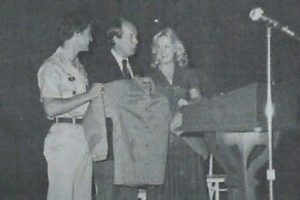LOOKING BACK 1979-80 -- Former Governor Lamar Alexander explains his new Tennessee Tomorrow Program and is presented a Central jacket by Roger Bush and Sherri Bradford.