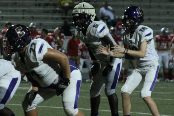 PHOTO GALLERY: CENTRAL FOOTBALL, CHEER, AND STUDENT SECTION FOR 2020-21 SEASON -- Freshman Evan Schwarzl sit back behind the offensive line.
