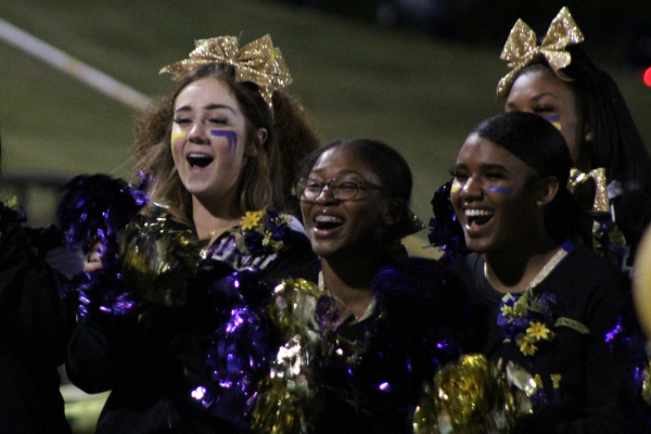 PHOTO GALLERY: CENTRAL FOOTBALL, CHEER, AND STUDENT SECTION FOR 2020-21 SEASON -- The Central cheerleaders cheering on the Pounders.
