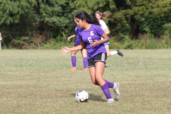 PHOTO GALLERY: CENTRAL SOCCER FOR 2020-21 SEASON -- Freshman Natali Dominguez dribbles downfield looking for a pass.