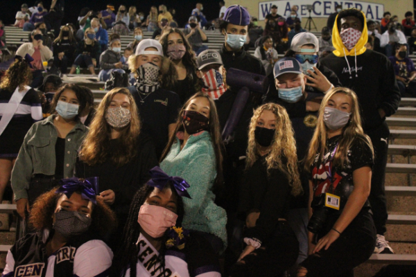PHOTO GALLERY: CENTRAL FOOTBALL, CHEER, AND STUDENT SECTION FOR 2020-21 SEASON -- The Pounders student section masked up and ready to cheer on the football team.