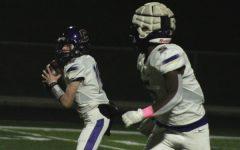 CENTRAL FOOTBALL BEGINS SPRING PRACTICE --Rising Sophomore quarterback Evan Schwarzl looks to throw to rising Senior running back, Michael Watson.