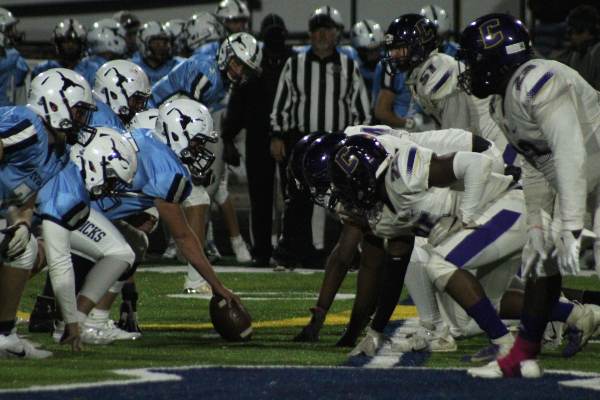 PHOTO GALLERY: CENTRAL FOOTBALL, CHEER, AND STUDENT SECTION FOR 2020-21 SEASON -- The Pounders on the line ready to protect the end zone from the Anderson County Mavericks.
