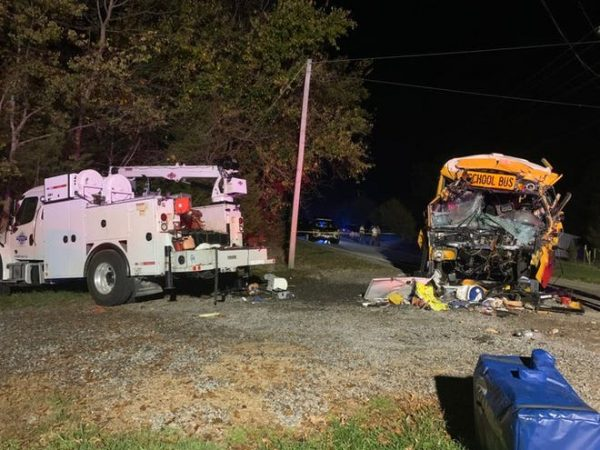 MEIGS COUNTY BUS CRASH RESULTS IN DEVASTATION-- This is the scene of the crash in which caused a death of both Lisa Dillard and Addicyn Medley.