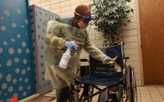 NURSE KIMBERLY LYKES FACES MANY CHANGES FROM COVID-19 -- The nurse at Central is constantly cleaning surfaces to better protect the students and faculty.