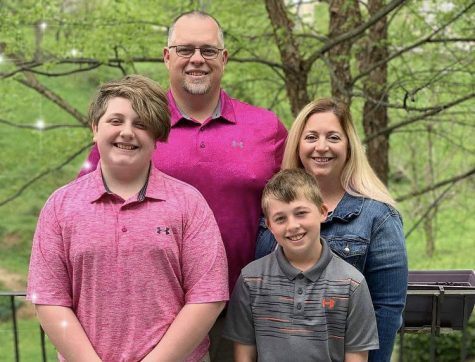 CHRIS KRIBS IS NAMED TEACHER OF THE MONTH -- History teacher Chris Kribs pictured with his family.