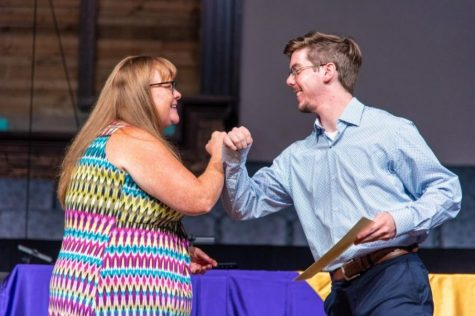 TIME SPANS ON SCHOLARSHIPS BECOME LONGER OVER THE PANDEMIC -- Stacy Alexander and Grant Scutt are elbowing to rejoice in the reception of an Alumni Scholarship.