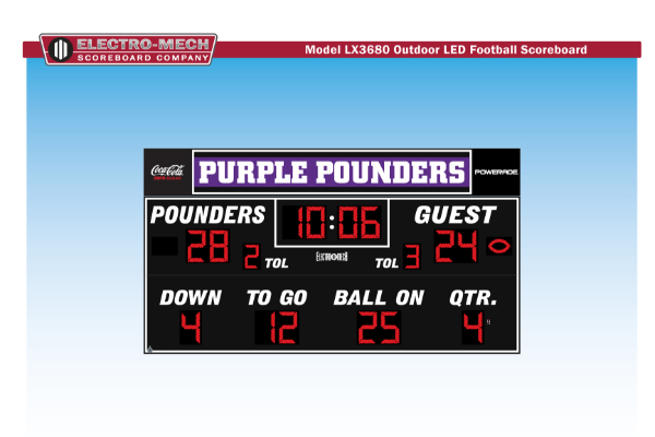 CENTRAL'S NEW SCOREBOARD -- Shown above is a preview of what Central's new scoreboard will look like.