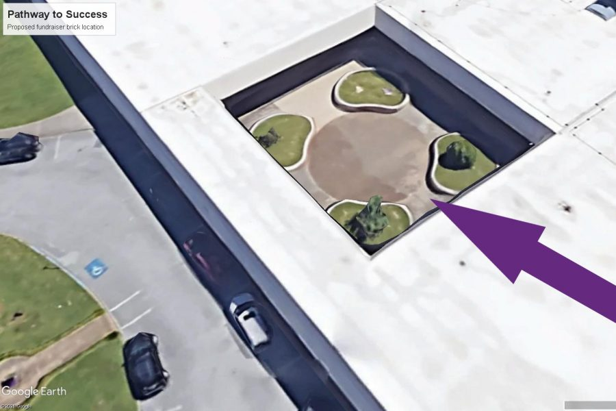 UPDATE: ALUMNI SPONSORED BRICK FUNDRAISER CONTINUES WITH RENEWED PURPOSE  -- Google Earth provides a birds-eye view of  the concrete circle between the planters,  where the bricks will be placed.
