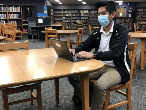 TOO MUCH SITTING -- Junior Justin Ramirez completes work in Central