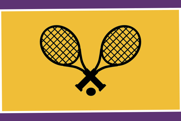 2021 TENNIS PREVIEW -- Tennis rackets sit in front of a purple and gold background.