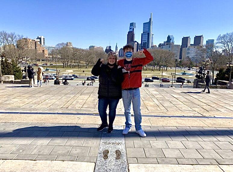 Grayson Catlett explores Pennsylvania with his mother, Susan Cattlett, including the Philadelphia Art Museum.