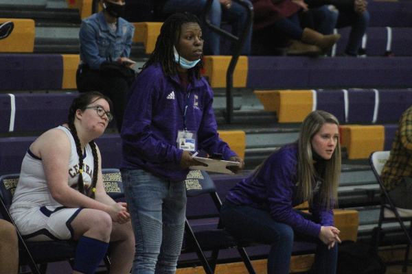 PHOTO GALLERY: CENTRAL GIRLS' BASKETBALL 2020-21 -- Coaches Sandrea Sylman and Madison Rogers watches as the girls' basketball team plays.