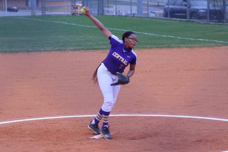 TOUGH START TO THE SEASON -- Mikiah Tate pitching in Monday's opening day game versus CSAS.