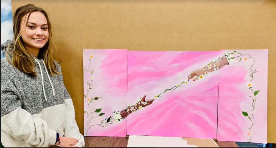 SOPHOMORE BREANNA LONG WINS EPB ART SPARK CONTEST-- Breanna Long pictured with her work.