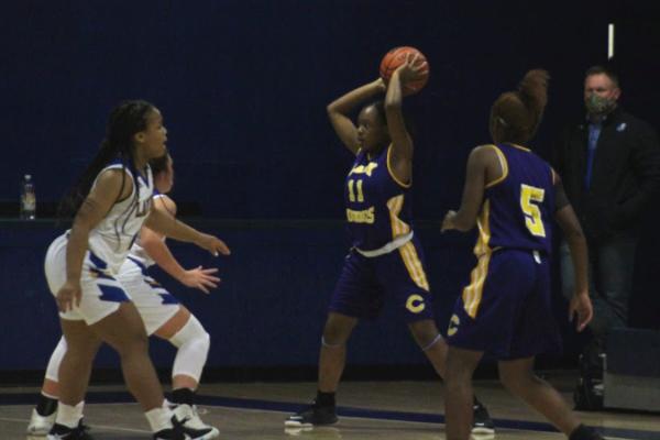 PHOTO GALLERY: CENTRAL GIRLS' BASKETBALL 2020-21 -- Junior Alissa Walton looks for an open pass.