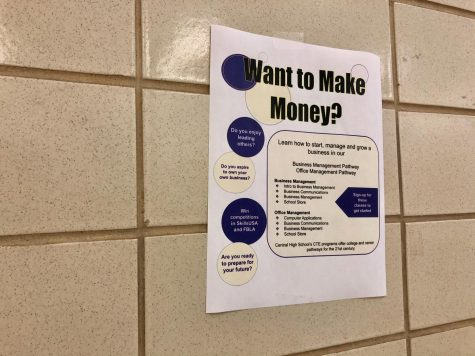 NEW BUSINESS CLASSES WILL BE AVAILABLE IN 2021 -- Teachers have posted several flyers in the hallway to raise awareness and encourage students to sign up for new business classes.