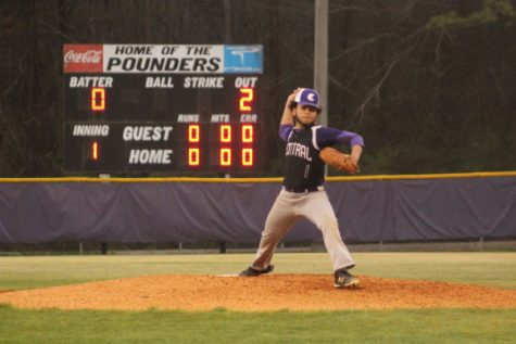 CENTRAL BASEBALL DOMINATES TYNER AND HOWARD -- Sophomore Elijah Dill pitching.